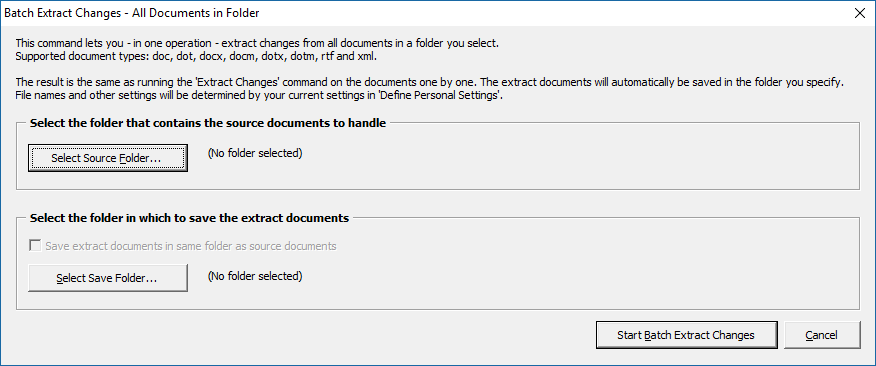 Extract tracked changes and comments from Word - the Batch Extract Changes dialog box