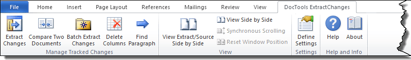 Extract tracked changes and comments from Word - the DocTools ExtractChanges tab