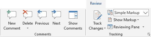 The comment tools in Word are found on the Review tab