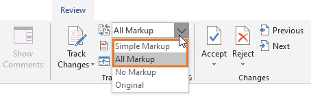 To see comments, make sure that All Markup or Simple Markup is selected
