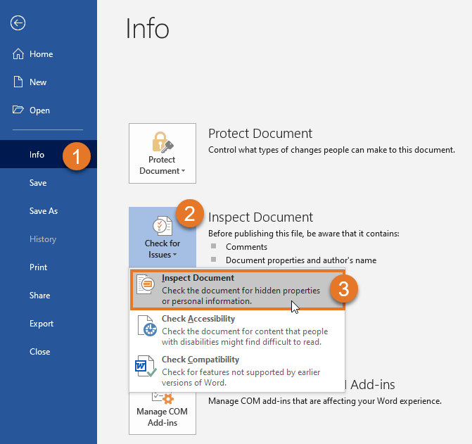Select File > Info > Check for Issues > Inspect Document