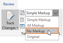 Select No Markup to show the document without comments and tracked changes