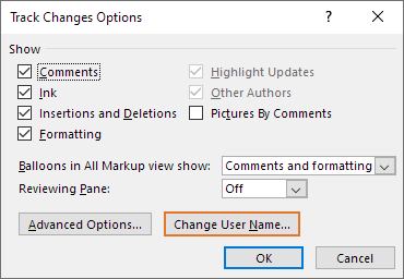 You can get access to the user name and initials settings via the Change User Name button in the Track Changes Options dialog box