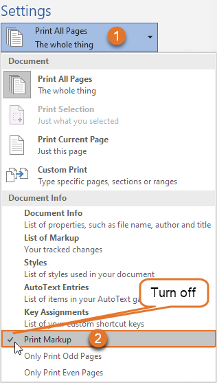 How to print without comments in Word - To print without comments and other markup, turn off Print Markup