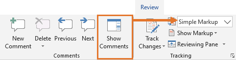 The Show Comments command is only enabled when Simple Markup is selected.