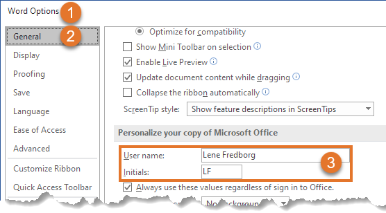 The User Name and Initial settings in Word Options > General