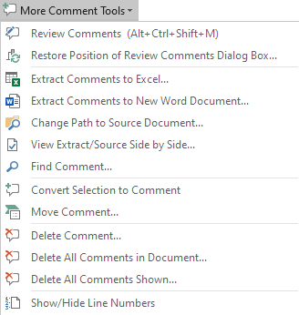 The More Comment Tools menu in DocTools CommentManager