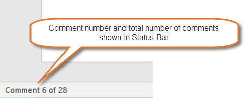 Comment number and total number of comments shown in Status Bar