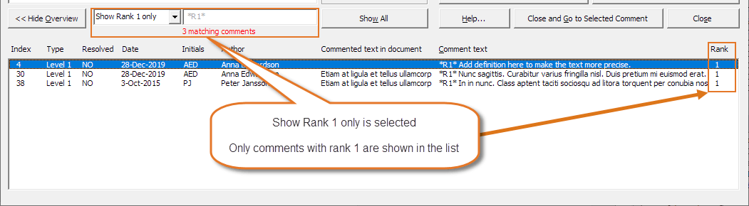 Example: Bottom of Review Comments dialog box - Overview showing only comments with rank 1