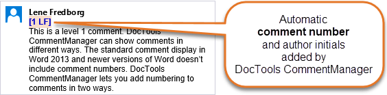 Automatic comment number added by DocTools CommentManager