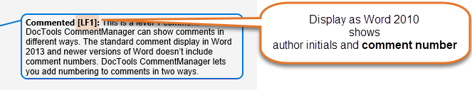 Comments display in balloons as in Word 2010