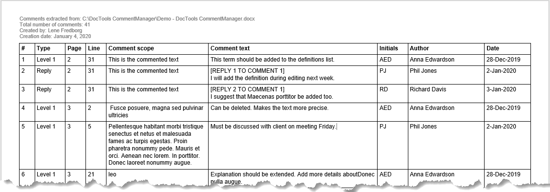 Example of extracted comments – the document includes both comments and metadata