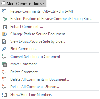 The More Comment Tools menu – Review comments in Word, etc.