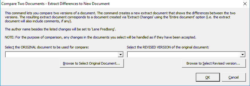 Extract tracked changes and comments from Word - the Compare Two Documents dialog box