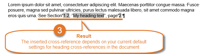 References in Word – the result of automatic replacement of the selection with cross-reference to heading