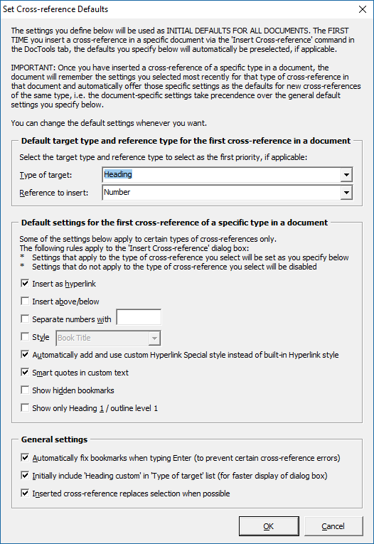 The Set Cross-reference Defaults dialog box
