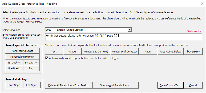 The dialog box used for defining custom cross-reference texts for headings