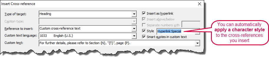 You can automatically apply a character style to cross-reference fields