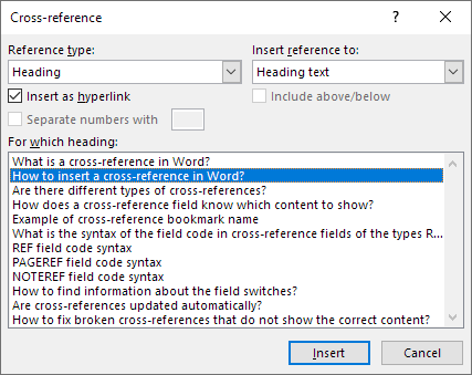 The built-in Cross-reference dialog box that lets you insert cross-references in Word.