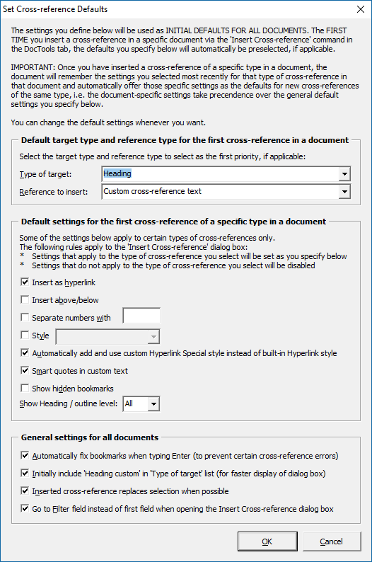 The Set Cross-Reference Defaults dialog box lets you define the initial defaults to use for cross-references in all documents