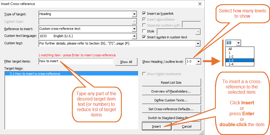 References in Word – You can use the Filter target items field to quickly reduce the list of target items