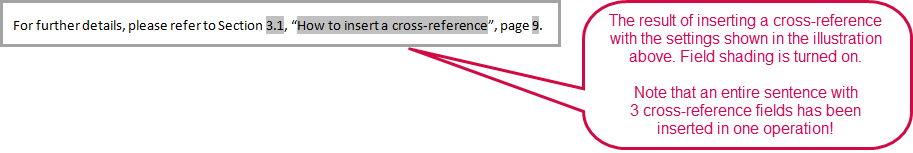 Example of the result of inserting a cross-reference using a custom text