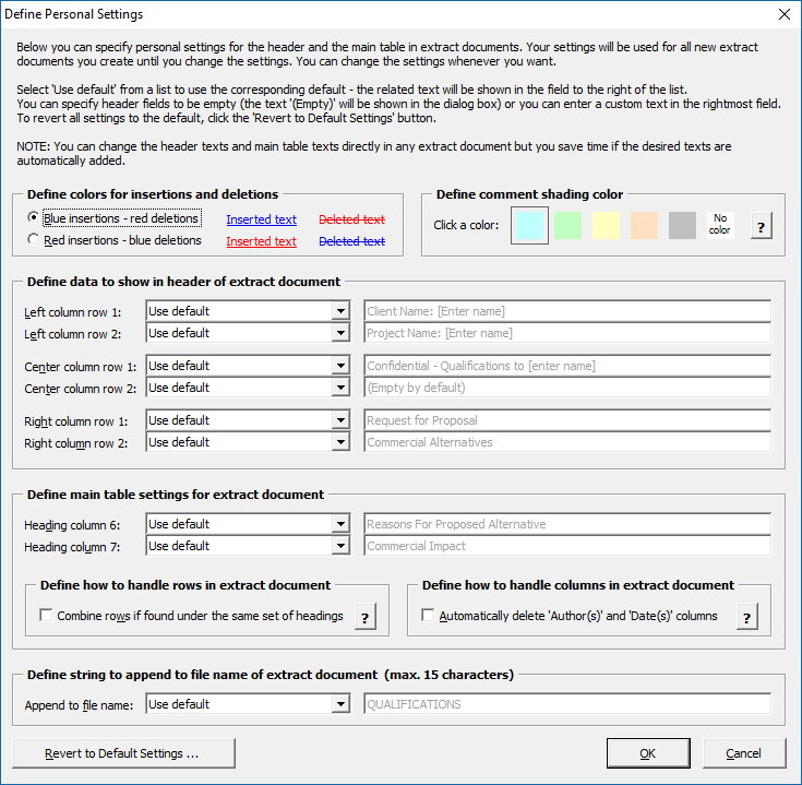Extract tracked changes and comments from Word - Define Personal Settings dialog box