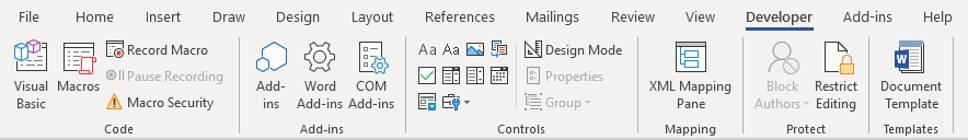 The Developer tab in Word added to the Ribbon - from Word for Microsoft 365
