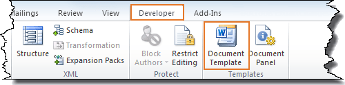 Click Document Template on the Developer tab