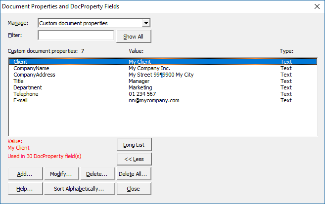 Expand dialog box to see more custom document property info