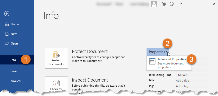 Document properties Word – How to find Advanced Properties in Word