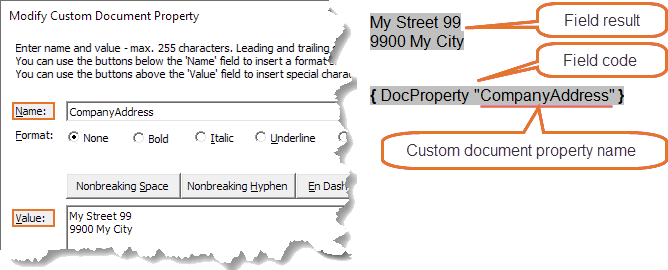 Example of custom document property and DocProperty field