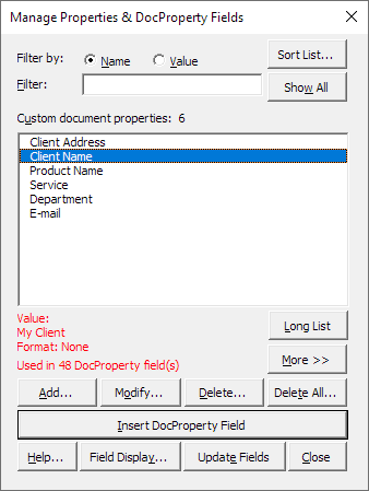 The Manage Properties & DocProperty Fields dialog box from where you can control most operations