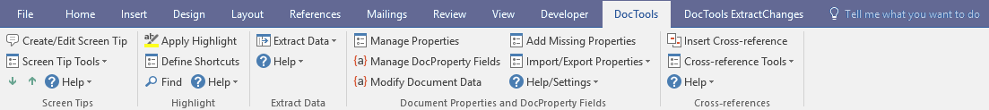 DocTools tab in the Ribbon - with tools from several Word Add-Ins