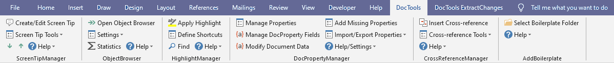 DocTools tab in the Ribbon, including tools from several DocTools Word add-ins