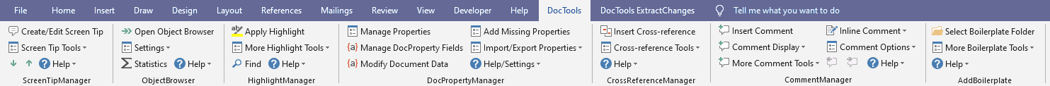 DocTools tab in the Ribbon with tools from several DocTools Word add-ins