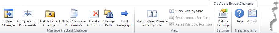 The DocTools ExtractChanges tab in the Ribbon
