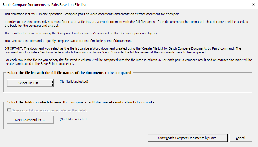 The Batch Compare Documents by Pairs Based on File List dialog box