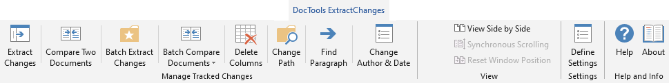 The ExtractChanges Pro tools in the DocTools ExtractChanges tab in the Ribbon