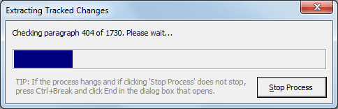 Extract tracked changes and comments from Word - a progress bar is shown during the extract process