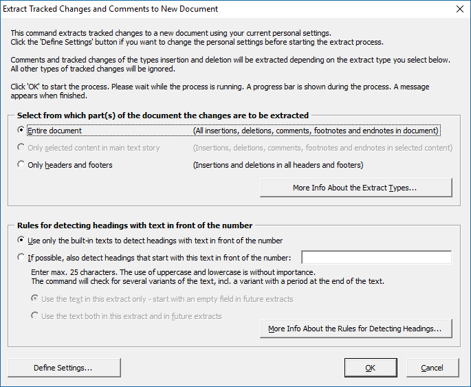 Extract tracked changes and comments from Word - dialog box