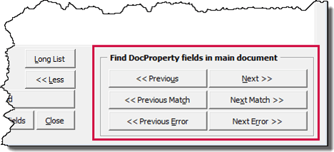 Feature for finding DocProperty fields