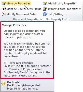Custom document properties and DocProperty Fields - Example of help text that appears on hover on a command
