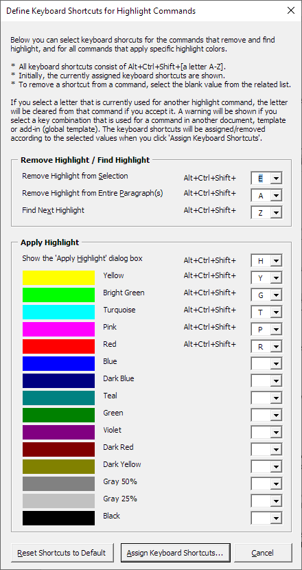Shortcut to highlight in Word –efine Keyboard Shortcuts for Highlight Commands dialog box – Microsoft Word highlight shortcuts