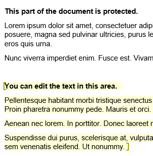 Example of highlight that shows which areas you can edit in a protected document