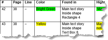 Example of information included about the found highlight