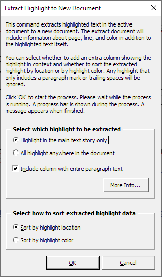 The Extract Highlight to New Document dialog box