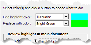 Example of selected find and replace highlight colors