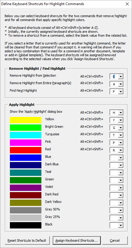 Define Keyboard Shortcuts for Highlight Commands dialog box