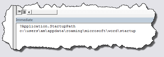 Finding the STARTUP folder via the macro editor, VBE